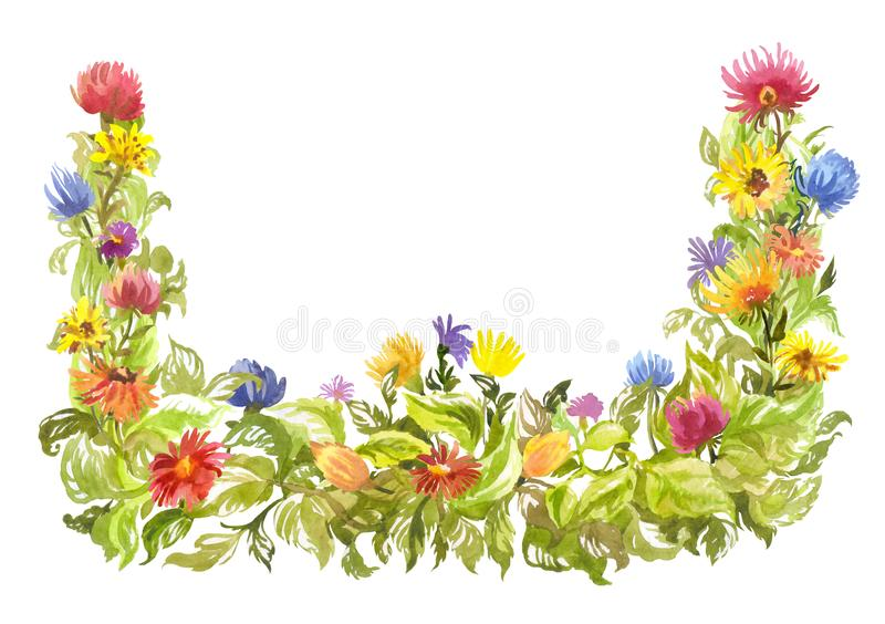 Spring watercolor frame. Corner blooming decorative element with multicolored daisy-like flowers. Bright watercolor frame, decorative summer element. Blooming vector illustration