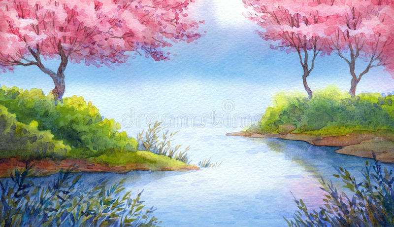 Spring Watercolor Landscape Flowering Trees Over Lake