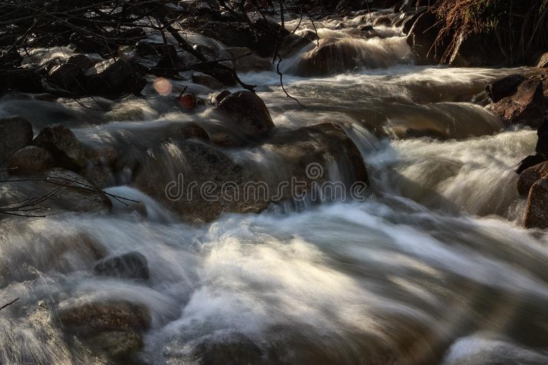 Spring waters. River stream in the mountains in spring stock photos