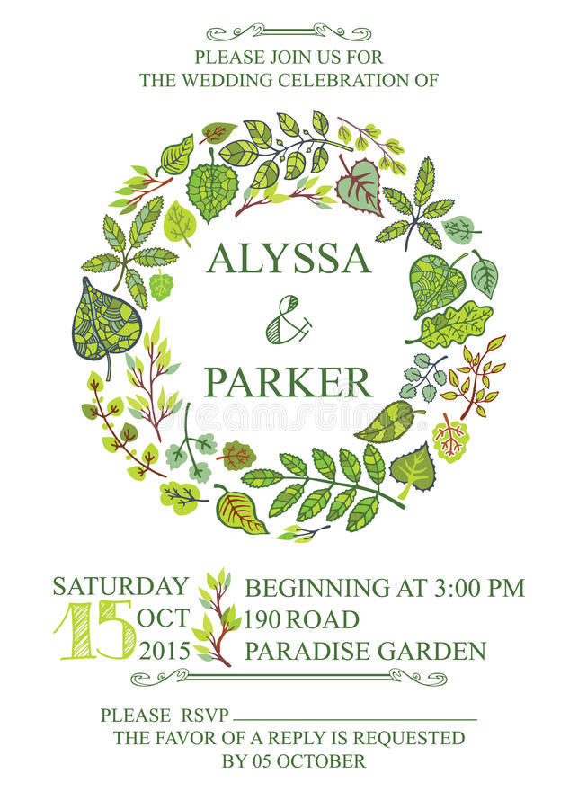 Spring wedding invitation with green leaves wreath stock vector download spring wedding invitation with green leaves wreath stock vector illustration of spring decorative stopboris Images