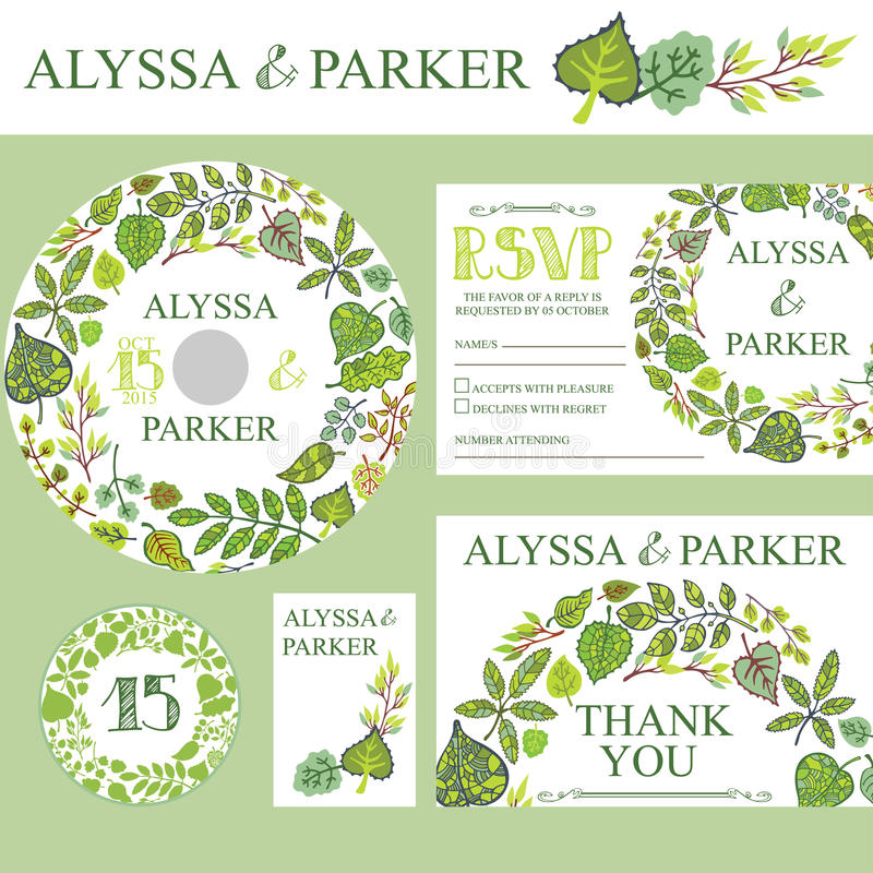 Spring wedding invitation setwreath with green stock vector download spring wedding invitation setwreath with green stock vector illustration of abstraction stopboris Images