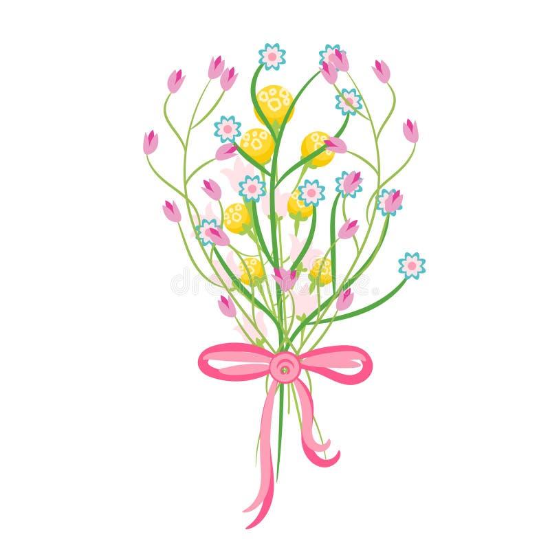 Spring Wild Flower Bouquet Vector Illustration. Stock ...