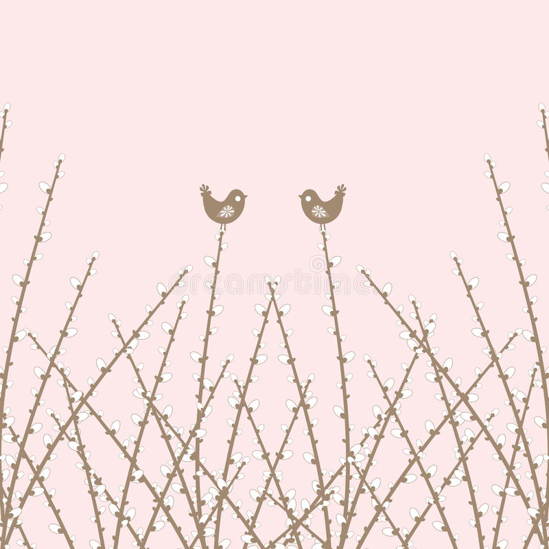 Download Spring Willow Twig And Birds Stock Illustration - Image: 24002501