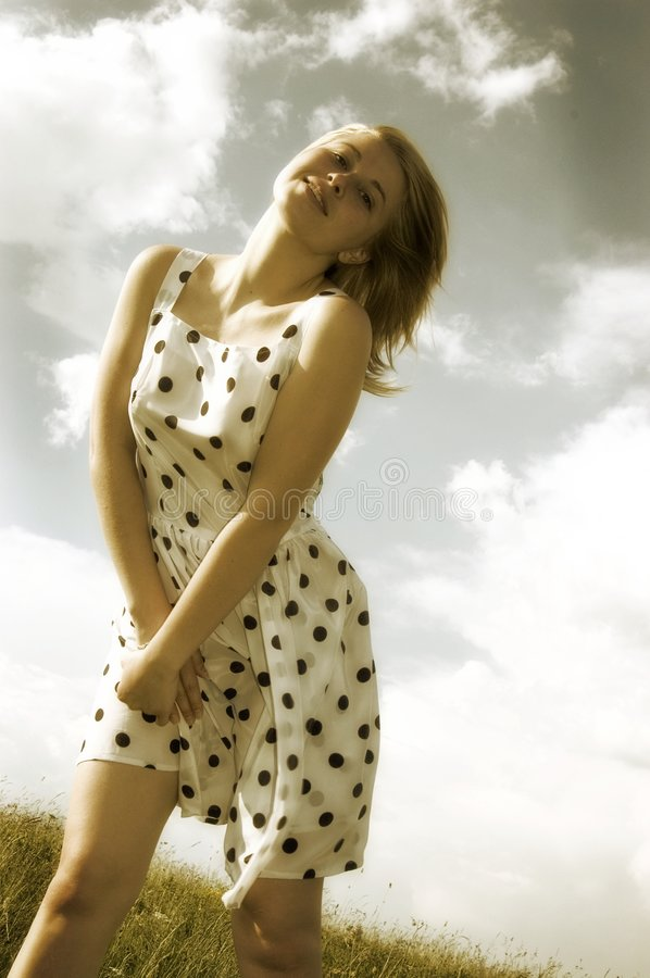 Download Spring woman stock photo. Image of young, dress, sepia - 2499288