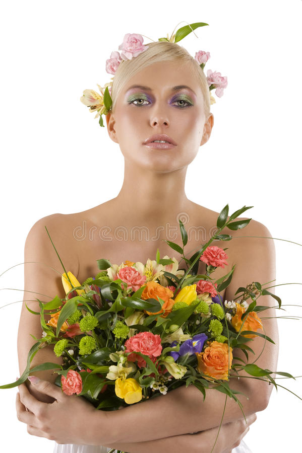 Spring woman with bouquet