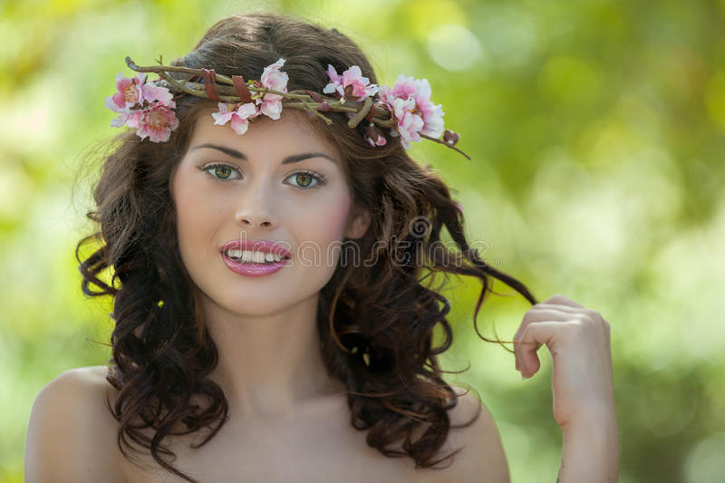 Spring woman in nature. Spring beauty woman in nature stock images