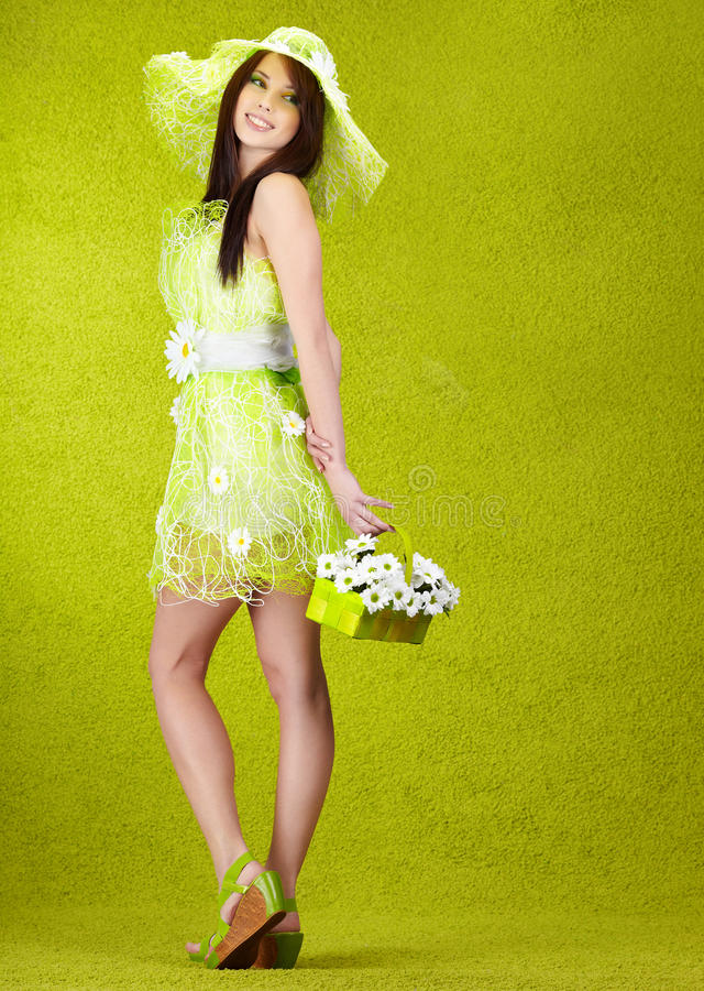 Spring woman portrait. Beautiful spring woman portrait. green concept royalty free stock photography