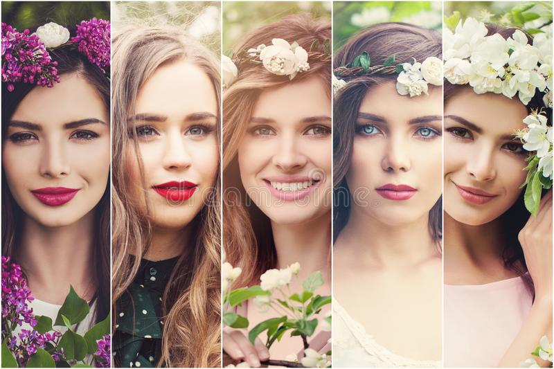 Spring women. Beautiful girls faces with flowers outdoors. Spring set royalty free stock photo