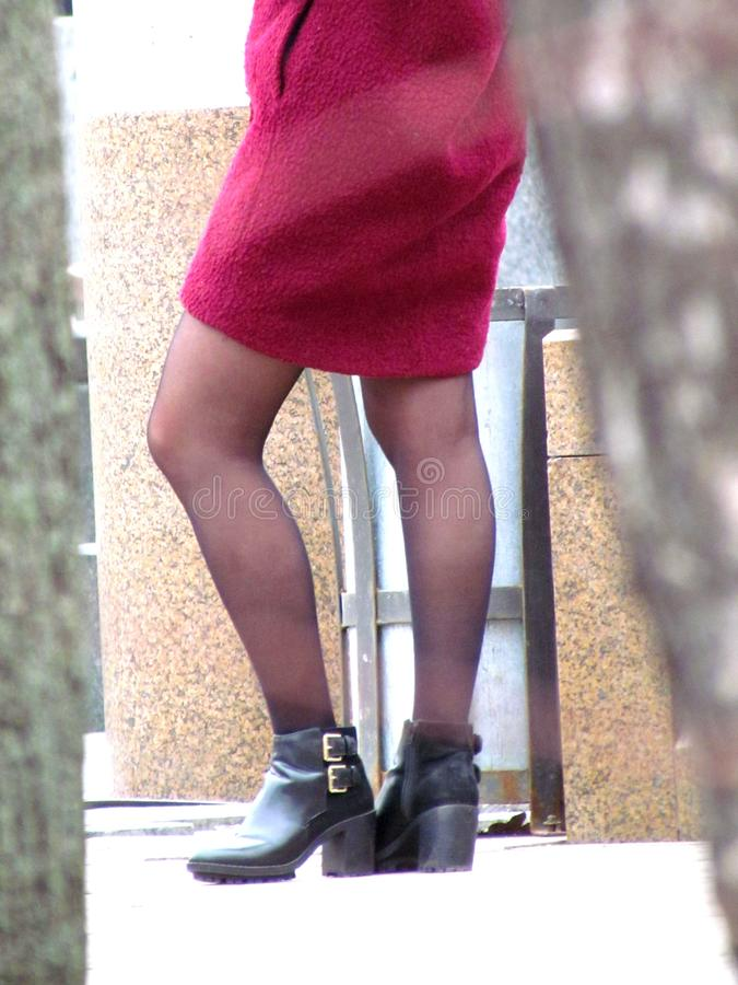 Spring women`s legs in pantyhose and shoes in the street. Close up royalty free stock image