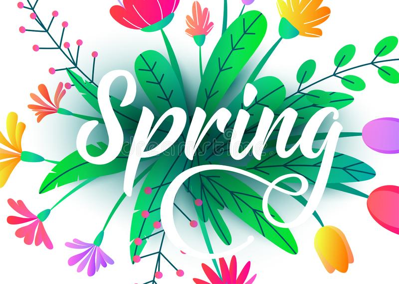 Spring word vector background with flat minimal flowers, leaves isolated on white. Floral springtime graphic design royalty free illustration