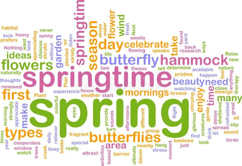 Spring wordcloud. Word cloud concept illustration of spring season stock illustration
