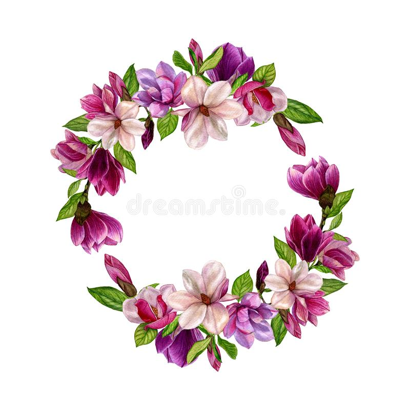 Spring wreath of magnolia flowers in watercolor style on a white background. royalty free illustration