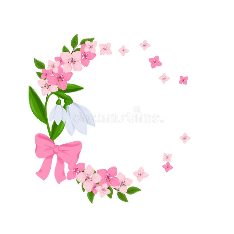 Spring wreath with snowdrops and cherry blossom for designing Spring greeting card, Easter poster, wedding invitation, bouquet royalty free illustration