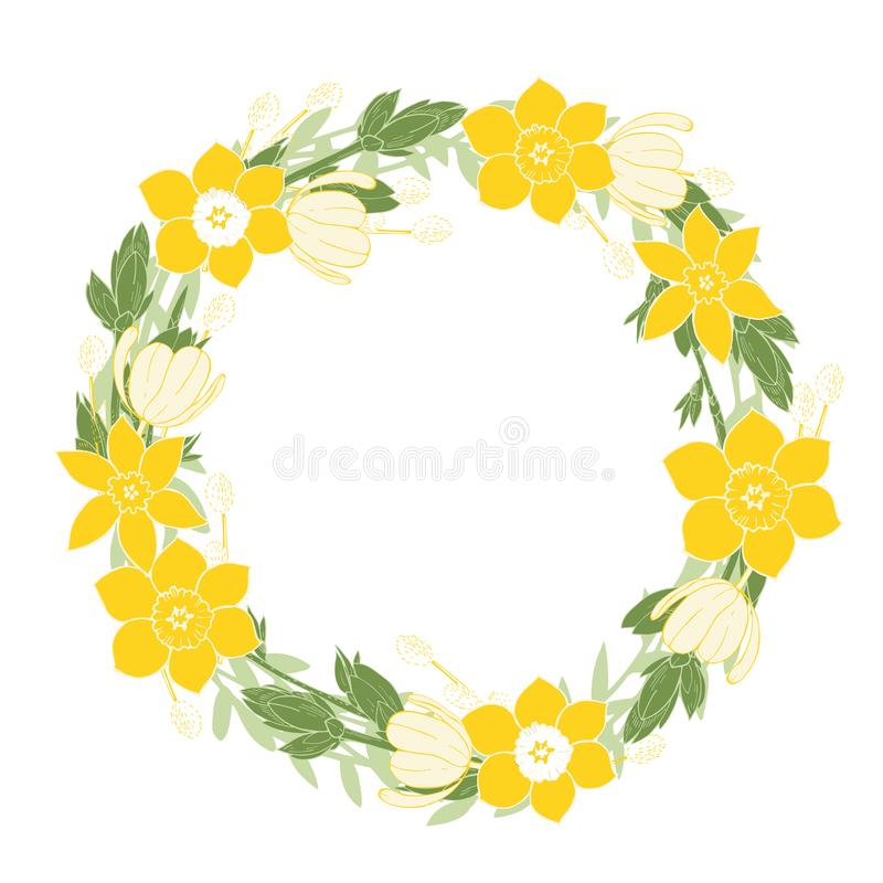Spring wreath with tulips and daffodils. Vector illustration. vector illustration