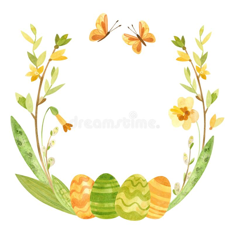 Free Spring Wreath With Easter Eggs, Pussy Willow, Feathers And Flowers. Royalty Free Stock Image - 210308276