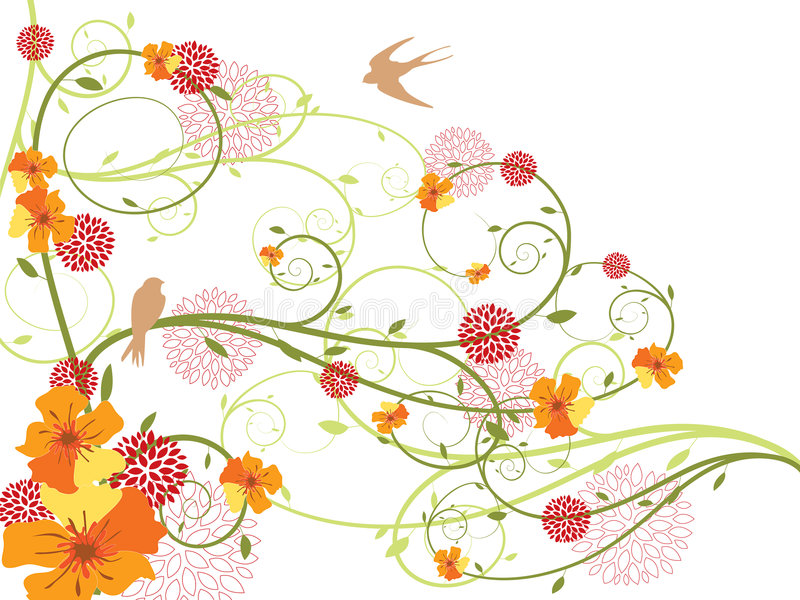 Spring yellow floral swirls and swallows vector illustration