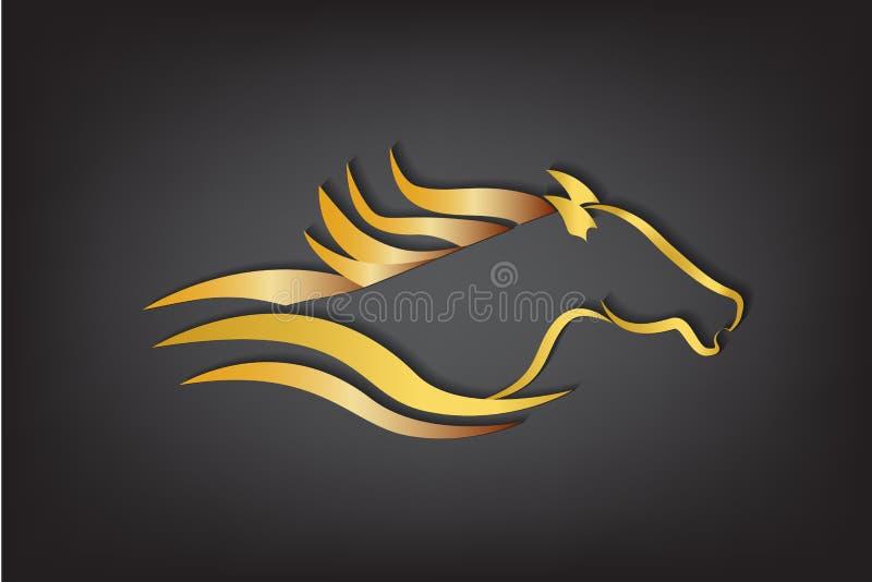 Springa bild för hästlogovektor vektor illustrationer
