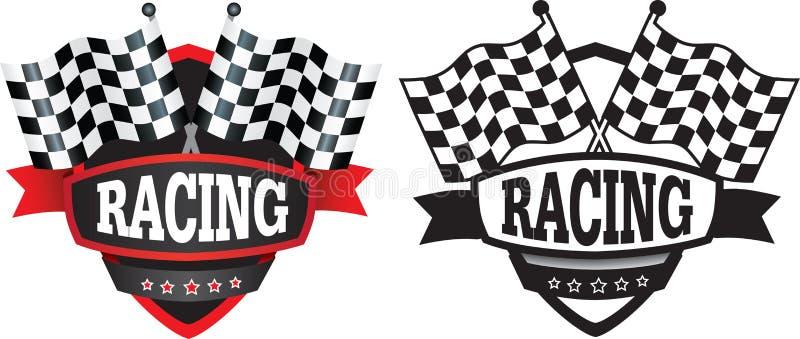 Springa eller motorsportsemblem eller logo vektor illustrationer