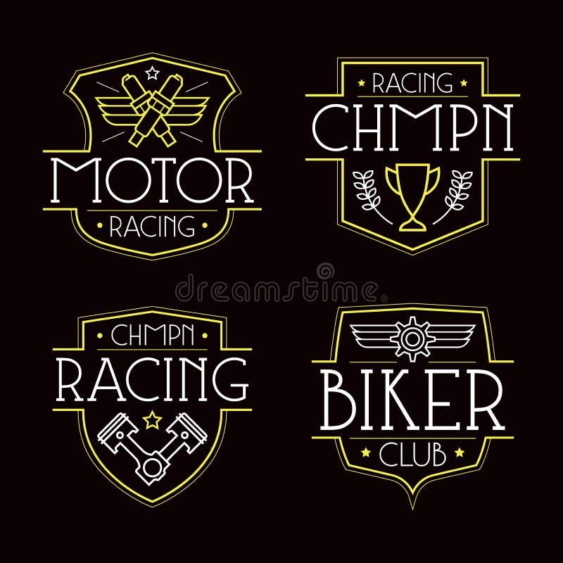 Springa emblem för t-skjorta royaltyfri illustrationer