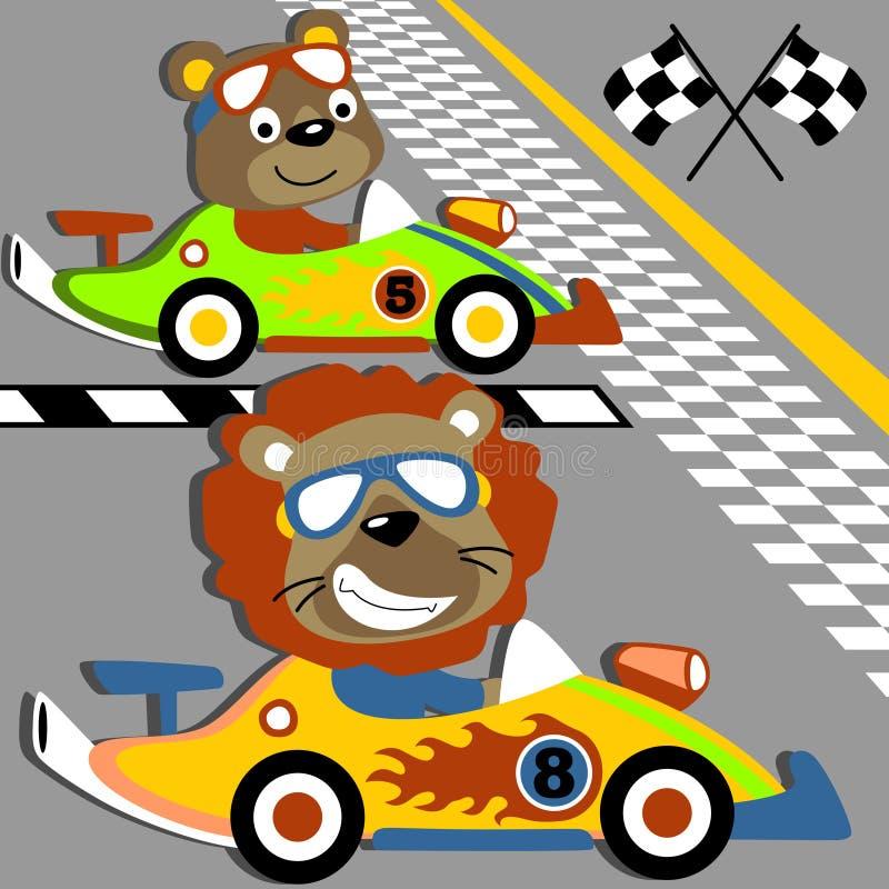 Springa för djurbil stock illustrationer