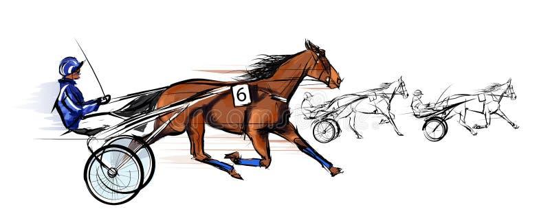 Springa för hästvagn royaltyfri illustrationer