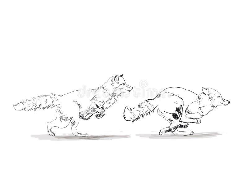 Springa rävar för rov stock illustrationer