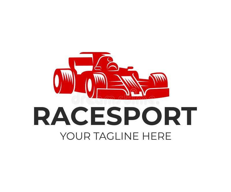 Springa sporten, formel 1 och racerbilen, logodesign Tävlings- bil och drev, vektordesign stock illustrationer