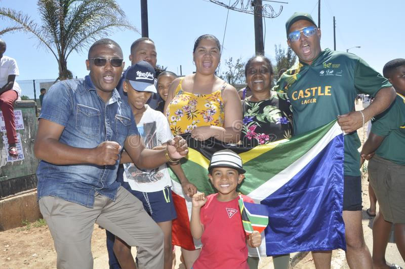 Springbok supporters celebrate thier victory over wales stock photography