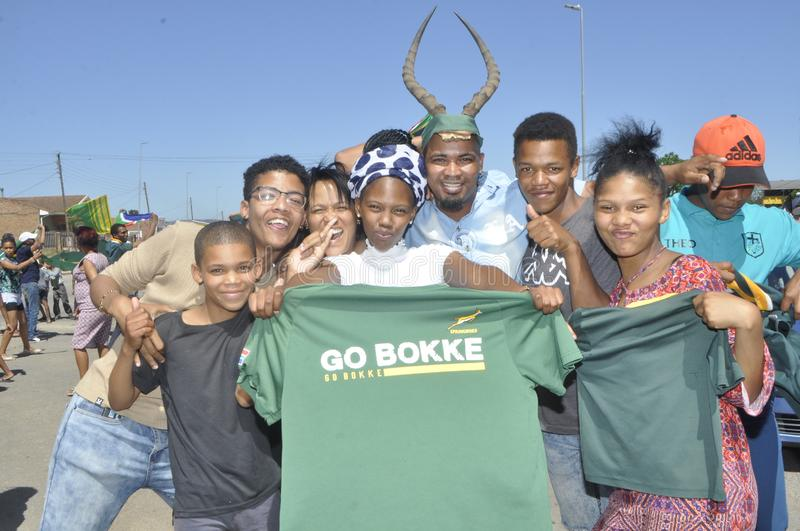 Springbok supporters celebrate thier victory over wales royalty free stock images