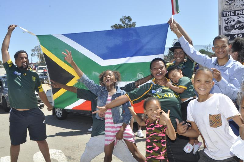 Springbok supporters celebrate thier victory over wales stock photo