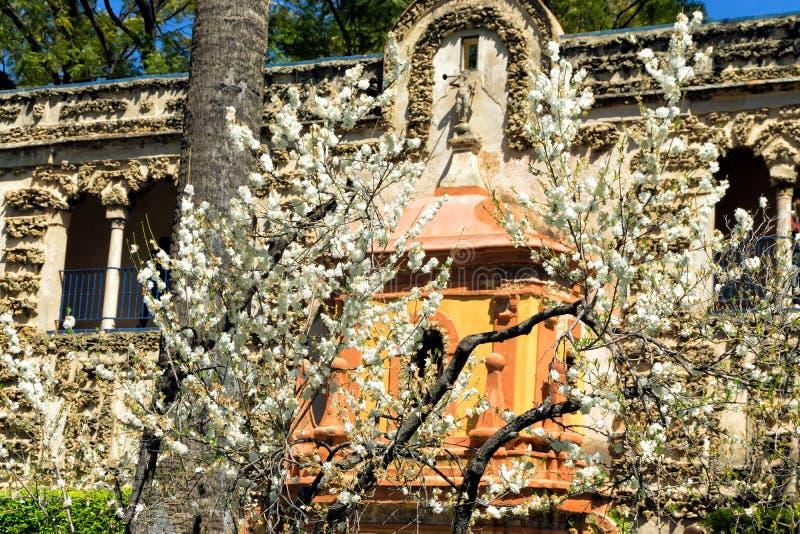 Springbrunn av berömmelse i det Grutesco gallerit i den verkliga Alcazarslotten i Seville, Spanien royaltyfri bild