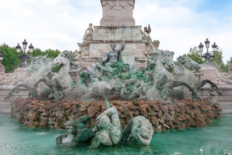 Springbrunn för monumentdes Girondins, Bordeaux, Frankrike arkivbild