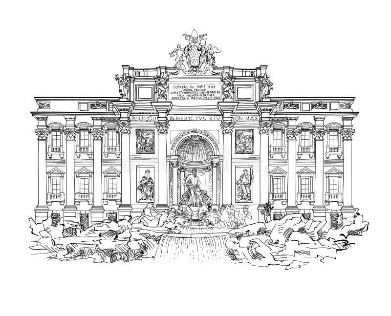 Springbrunn för Rome berömd gränsmärkeTrevi LoppItalien etikett stock illustrationer