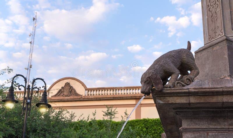 Springbrunn för vatten för hundstenstaty royaltyfri bild