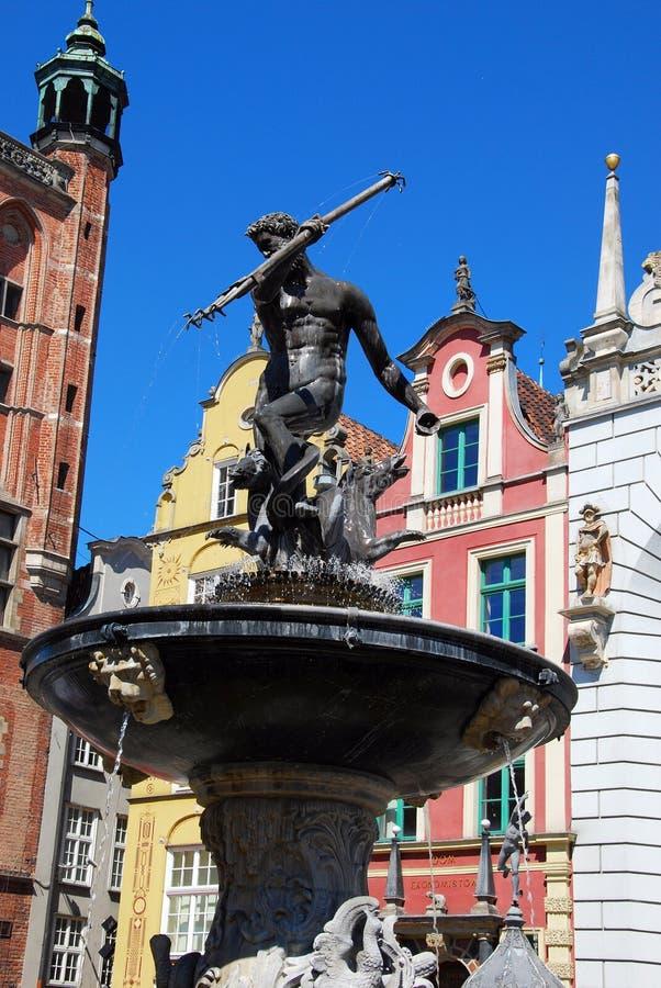 springbrunn gdansk neptune royaltyfria bilder
