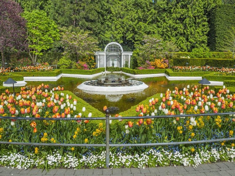 Springbrunn i Butchart trädgårdar arkivfoto
