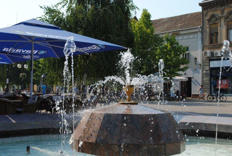 Springbrunn i den lilla staden Vrsac fotografering för bildbyråer