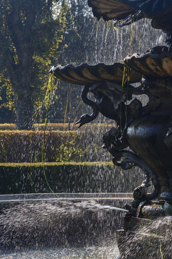 Springbrunn i en park arkivfoton