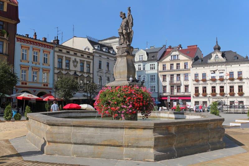 Springbrunn på härlig marknadsfyrkant i Cieszyn, Polen arkivbilder