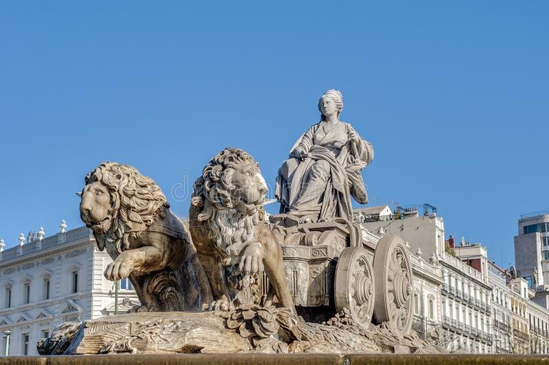 Springbrunnen av Cibeles i Madrid, Spanien. arkivbild
