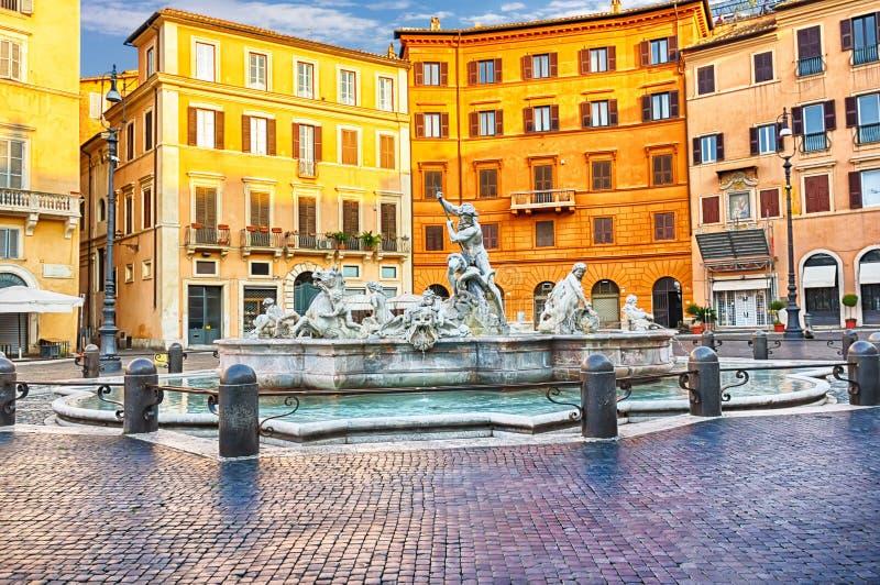 Springbrunnen av Neptun i piazza Navona royaltyfri fotografi