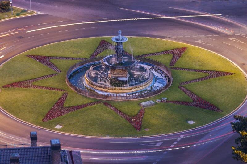 Springbrunnen för tre gracerna i Malaga arkivfoto