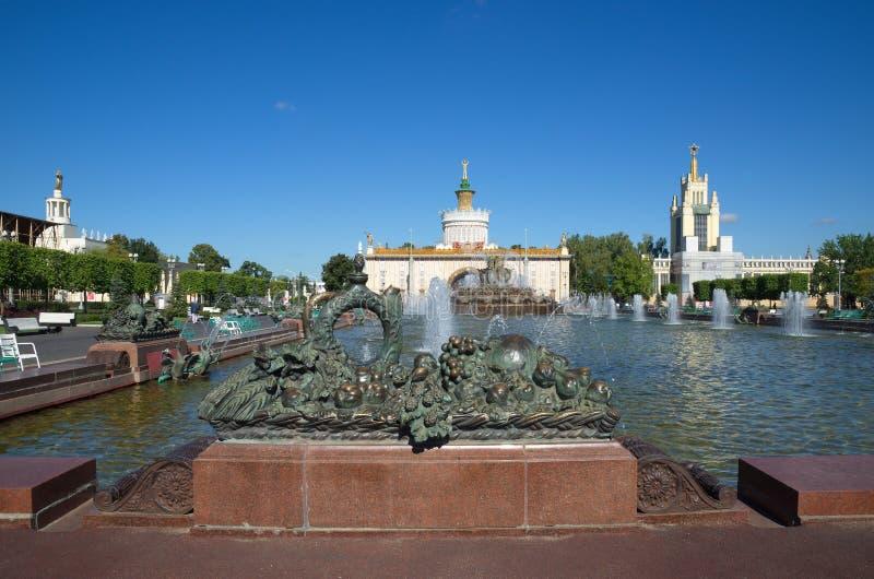 Springbrunnen 'stenar blomman 'på bakgrunden av paviljonger på VDNH i Moskva, Ryssland royaltyfria foton
