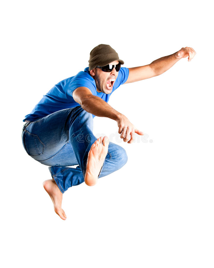Springen des jungen Mannes lizenzfreies stockfoto