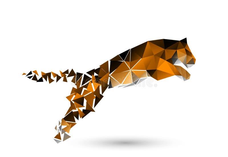 Springen des Tigers von den Polygonen stock abbildung