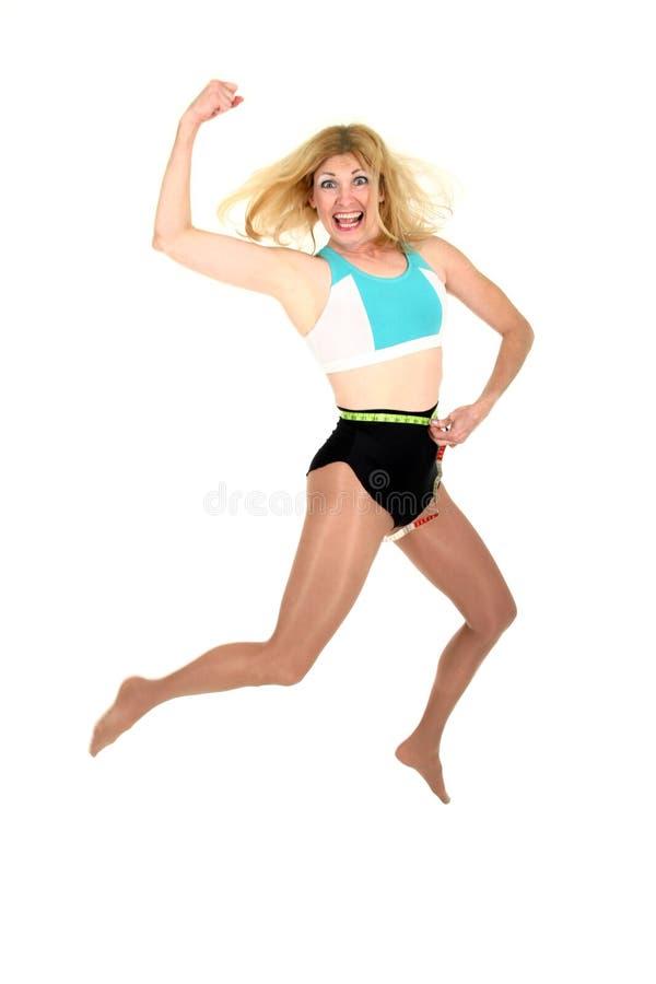 Springen für Freude bei Gewichts-Verlust 3 lizenzfreie stockfotos