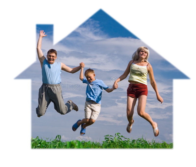 Springen Sie glückliche Familie stockbild