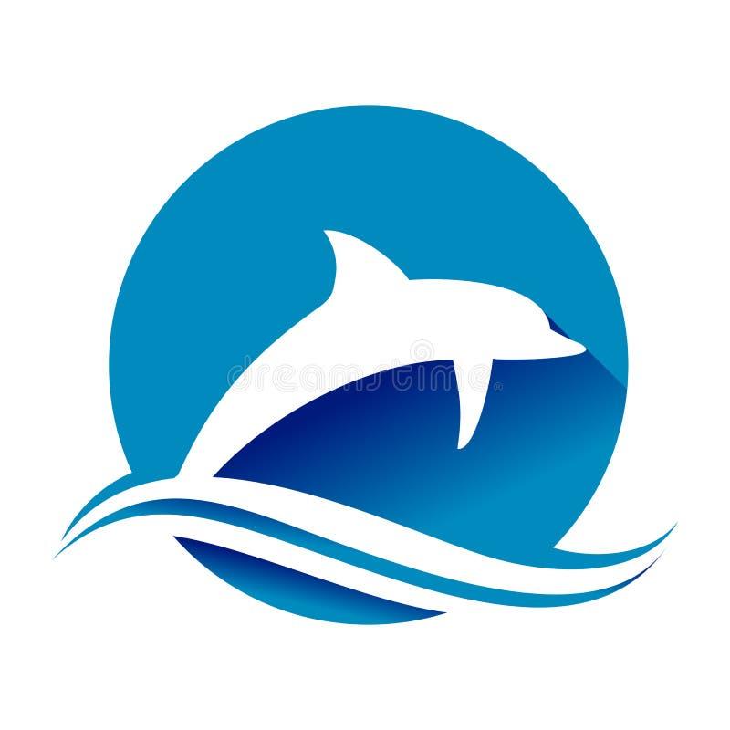 Springend Blauw van de de Cirkelvorm van de Dolfijn Oceaangolf het Symboolontwerp royalty-vrije illustratie