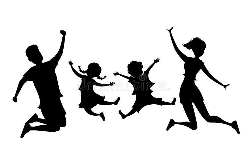 Springend familiesilhouet stock illustratie