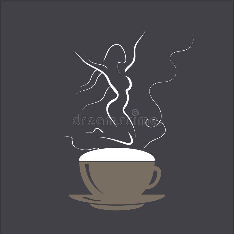 Springend meisje op cappuccinoschuim Koffiekop met dansende wonan danser Vectorillustratieembleem eps10 royalty-vrije illustratie
